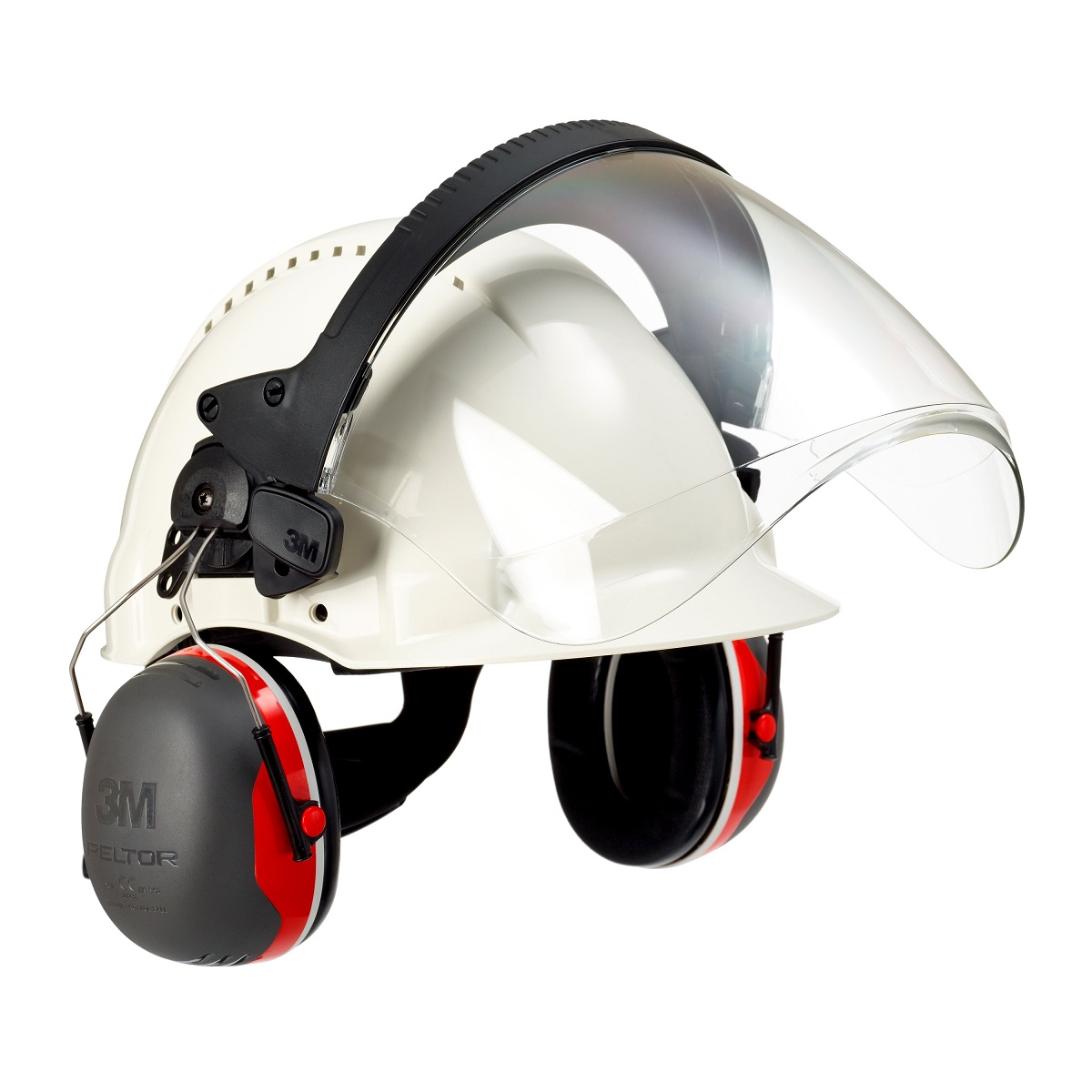 safety helmet g3000nwhite with faceshield 5f 1 ear muffs x3p3e